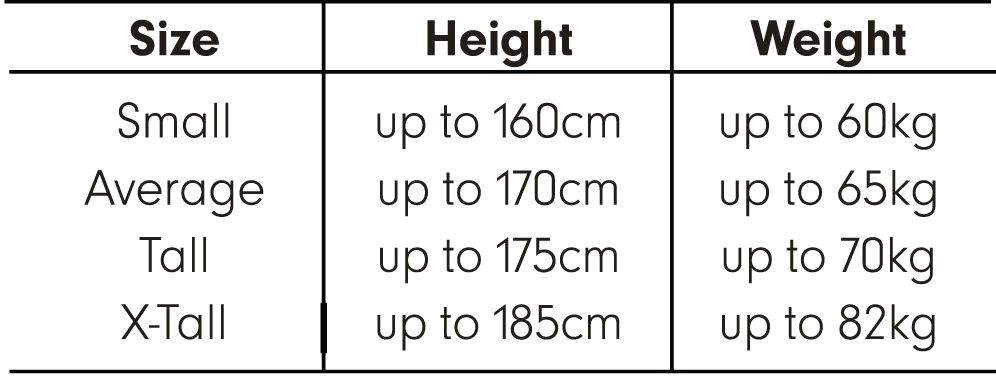 Size Chart - Standard